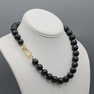 Black freshwater pearl necklace gold clasp